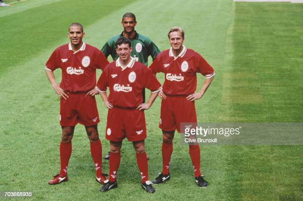 LR Stan Coleymore Robbie Fowler goalkeeper Tony Warner and John Scales of Liverpool Football Club pose for a portrait at the Anfield football stadium...