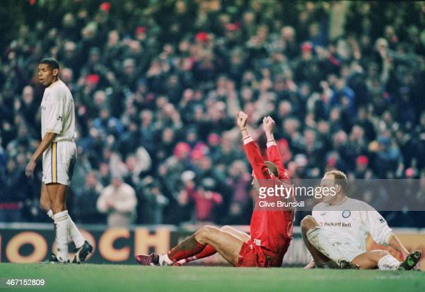 Stan Collymore celebrates scoring his first goal during Liverpool's 40 Premier League victory against Leeds at Anfield 19th February 1997
