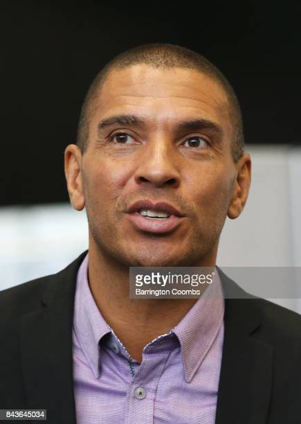 Stan Collymore Liverpool Aston Villa former footballer looks on during day 3 of the Soccerex Global Convention at Manchester Central Convention...