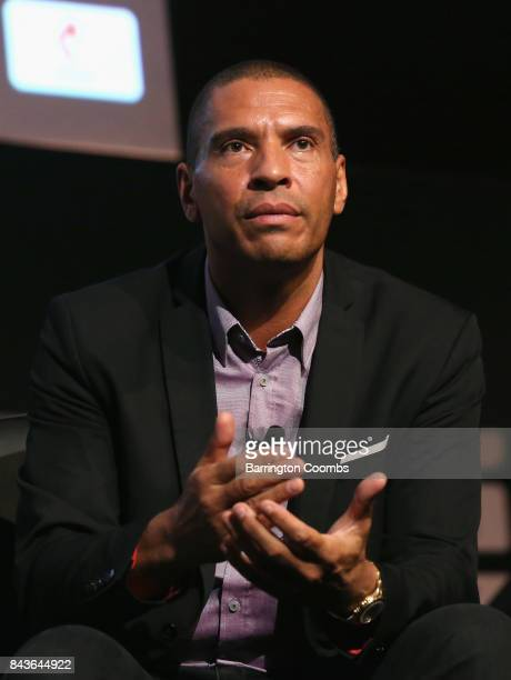 Stan Collymore Liverpool Aston Villa former footballer talks during day 3 of the Soccerex Global Convention at Manchester Central Convention Complex...