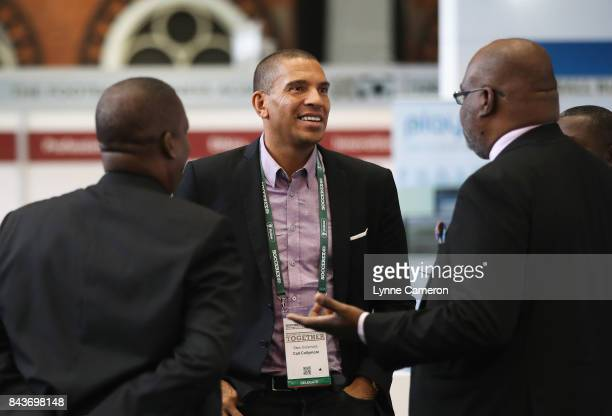 Stan Collymore Liverpool Aston Villa former footballer talks with delegates during day 3 of the Soccerex Global Convention at Manchester Central...