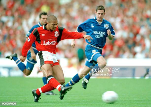 Stan Collymore of Nottingham Forest in action during the FA Carling Premiership match between Nottingham Forest and Leicester City at the City Ground...