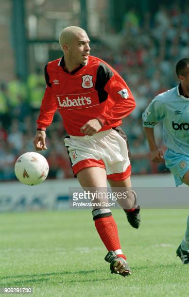 Stan Collymore of Nottingham Forest in action during the FA Carling Premiership match between Nottingham Forest and Manchester City at the City...