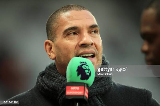 Stan Collymore speaks to media prior to the Premier League match between West Ham United and Arsenal FC at London Stadium on January 12 2019 in...