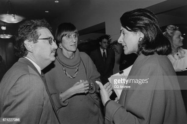 Stan Greenberg with Rep Anna Eshoo DCalif and Rep Rosa DeLauro DConn at the Democratic Senatorial Campaign Committee Dinner/Reception on April 8 1993