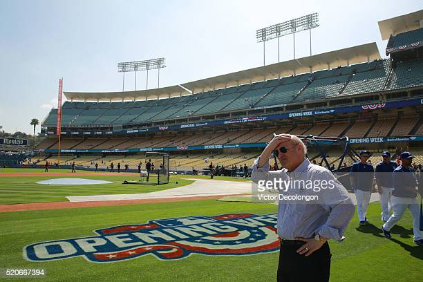 Stan Kasten, President & CEO, Los Angeles Dodgers looks on after the Dodgers batting practice prior to the MLB game between the Arizona Diamondbacks...