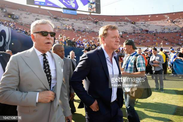 Stan Kroenke and NFL commissioner Roger Goodell enter the stadium ahead of the game between the Los Angeles Rams and the Minnesota Vikings at Los...