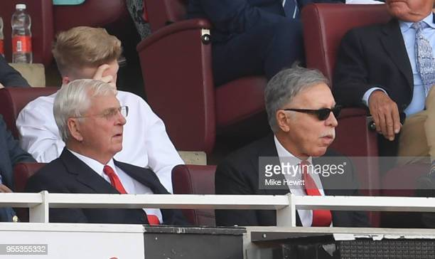Stan Kroenke Arsenal shareholder and Chips Keswick Arsenal chairman are seen in the stands during the Premier League match between Arsenal and...