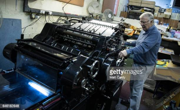Stan Lane uses his Heidelberg letterpress at Gloucester Typesetting Services in Stonehouse on February 27 2017 in Gloucestershire England Stan Lane...