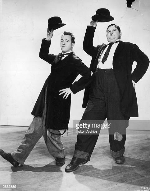 Stan Laurel and Oliver Hardy in a dance routine from the film 'Way Out West' directed by James Horne