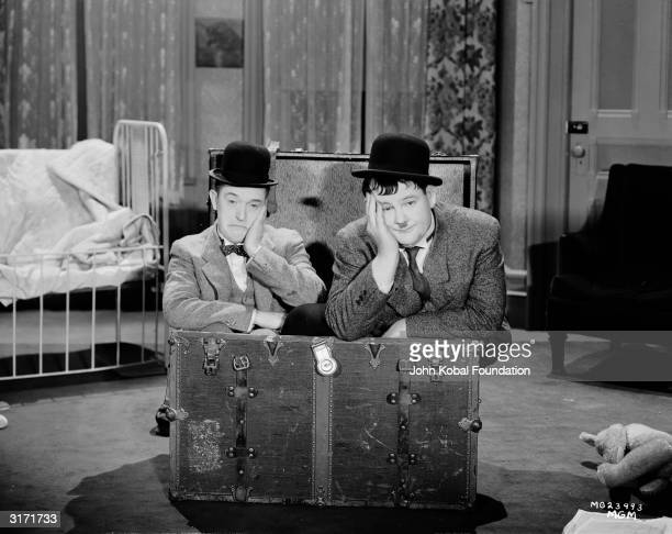 Stan Laurel and Oliver Hardy in a scene from 'Pack Up Your Troubles' directed by George Marshall and Ray McCarey
