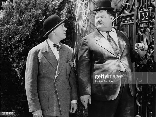 Stan Laurel and Oliver Hardy in a scene from the film 'The Big Noise', directed by Mal St Clair for 20th Century Fox.