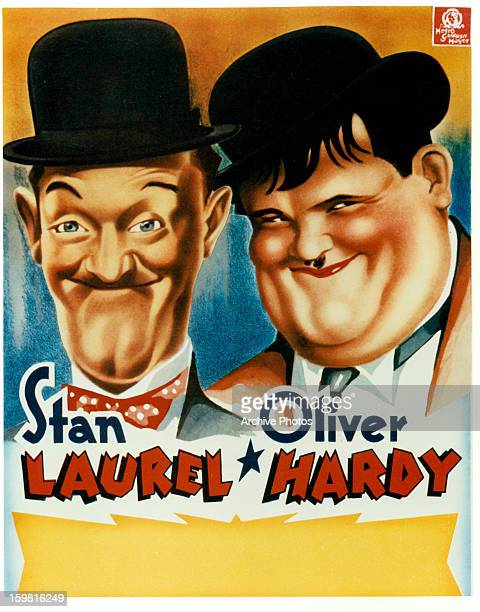 Stan Laurel and Oliver Hardy in publicity poster circa 1935