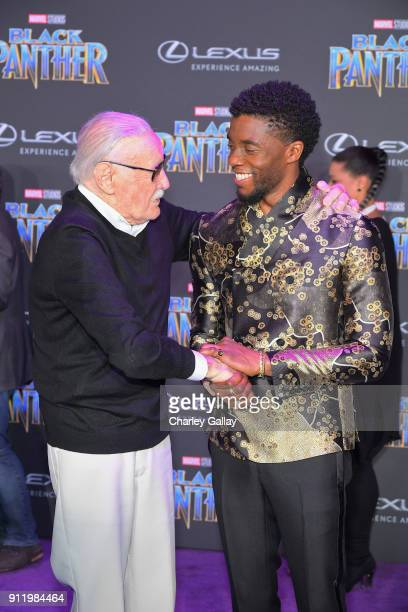 Stan Lee and Chadwick Boseman arrive for the World Premiere of Marvel Studios' Black Panther presented by Lexus at Dolby Theatre in Hollywood on...