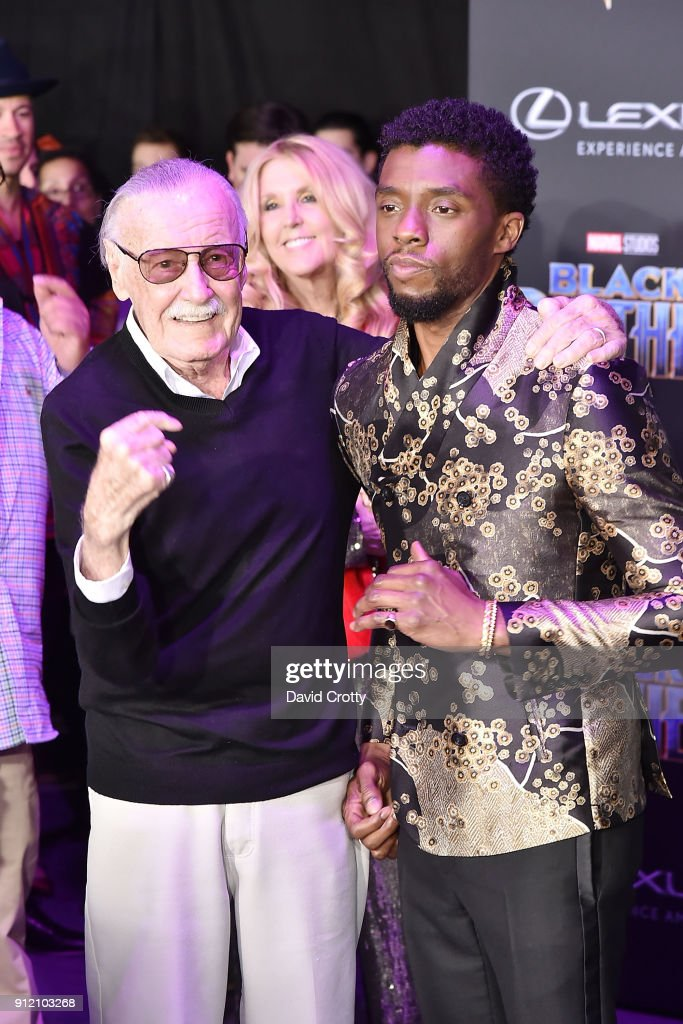 Stan Lee and Chadwick Boseman attend the Premiere Of Disney And Marvel's 'Black Panther' - Arrivals on January 29, 2018 in Hollywood, California.