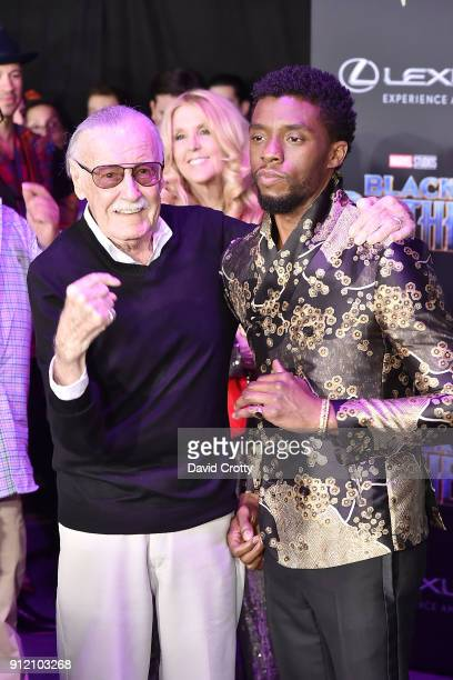Stan Lee and Chadwick Boseman attend the Premiere Of Disney And Marvel's Black Panther Arrivals on January 29 2018 in Hollywood California
