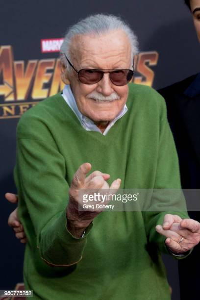 """Stan Lee and Keya Morgan attend the """"Avengers: Infinity War"""" World Premiere on April 23, 2018 in Los Angeles, California."""