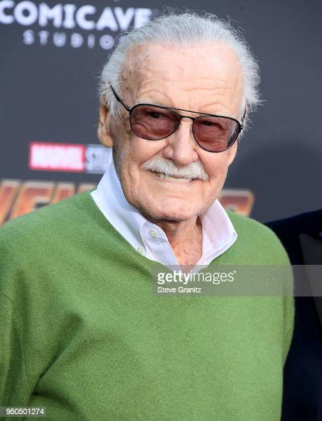 Stan Lee arrives at the Premiere Of Disney And Marvel's Avengers Infinity War on April 23 2018 in Los Angeles California