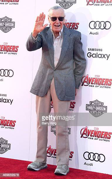 Stan Lee arrives at the Premiere Of Marvel's 'Avengers Age Of Ultron' at the Dolby Theatre on April 13 2015 in Hollywood California