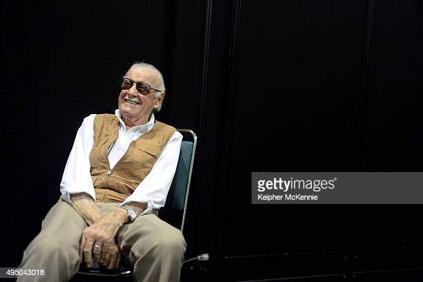 Stan Lee attends Comikaze Expo press conference at Los Angeles Convention Center on October 30 2015 in Los Angeles California