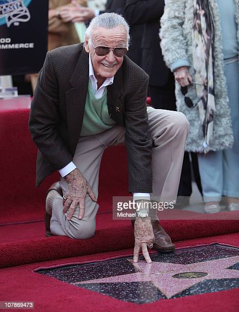 Stan Lee attends the ceremony honoring him with a Star on the Hollywood Walk of Fame held on January 4 2011 in Hollywood California