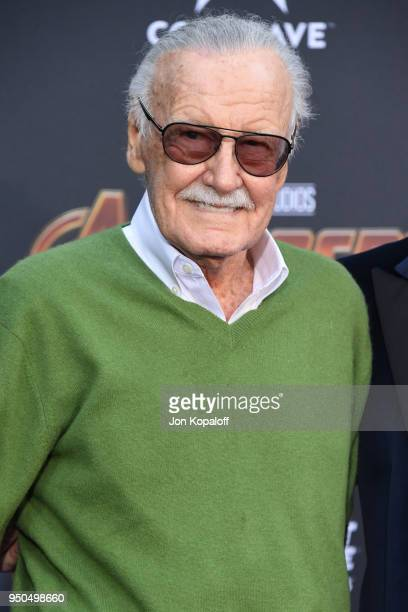 Stan Lee attends the premiere of Disney and Marvel's 'Avengers Infinity War' on April 23 2018 in Los Angeles California