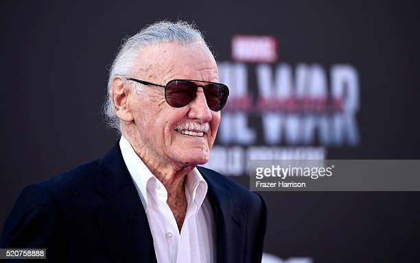 Stan Lee attends the premiere of Marvel's Captain America Civil War at Dolby Theatre on April 12 2016 in Los Angeles California