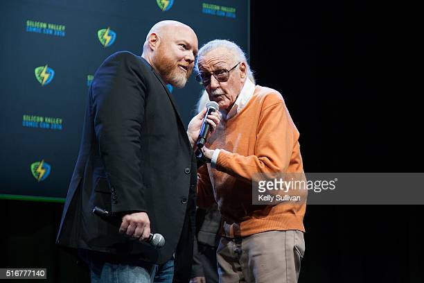 Stan Lee bids farewell to the crowd with Rick White's microphone during the closing panel of the Silicon Valley Comic Con on March 20 2016 in San...