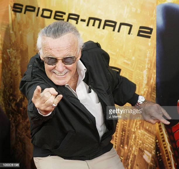 Stan Lee during SpiderMan 2 Los Angeles Premiere at Mann Village in Westwood California United States