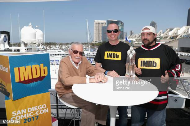 Stan Lee Founder and CEO of IMDb Col Needham and host Kevin Smith at the #IMDboat At San Diego ComicCon 2017 on the IMDb Yacht on July 21 2017 in San...