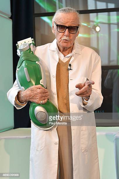 Stan Lee holds the Gillette XL Gamma at the Stark Industries and Gillette announcement of a collaboration to develop prototype razors at Gillette's...