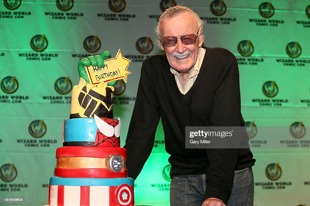 Stan Lee is presented with a birthday cake for his 91st birthday which is on December 28th during the Wizard World Austin Comic Con at the Austin Convention Center on November 23, 2013 in Austin, Texas.
