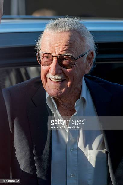 Stan Lee is seen outside the premiere of 'Captain America Civil War' on April 12 2016 in Los Angeles California