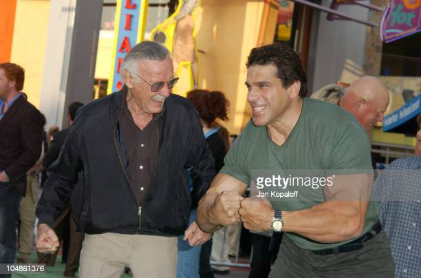 """Stan Lee & Lou Ferrigno during The World Premiere Of """"The Hulk"""" at Universal Amphitheatre in Universal City, California, United States."""