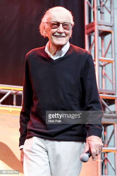 Stan Lee onstage at ENTERTAINMENT WEEKLY Presents Dwayne The Rock Johnson at Stan Lee's Los Angeles ComicCon at Los Angeles Convention Center on...