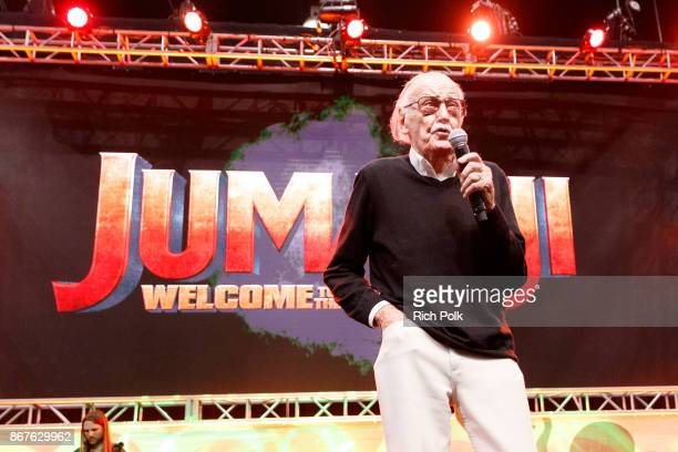 Stan Lee speaks onstage at ENTERTAINMENT WEEKLY Presents Dwayne 'The Rock' Johnson at Stan Lee's Los Angeles ComicCon at Los Angeles Convention...