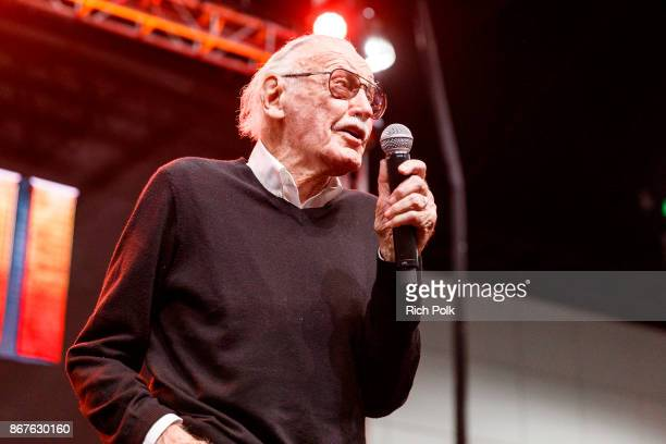 Stan Lee speaks onstage at ENTERTAINMENT WEEKLY Presents Dwayne The Rock Johnson at Stan Lee's Los Angeles ComicCon at Los Angeles Convention Center...