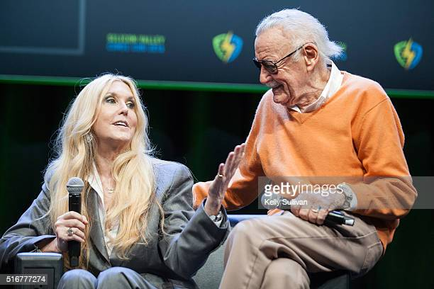 Stan Lee's daughter, Joan Celia Lee, surprises her father with an appearance during the closing panel of the Silicon Valley Comic Con on March 20,...