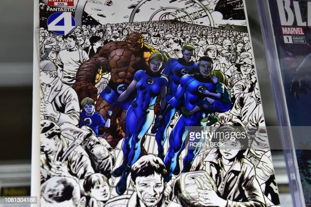 A Stan Leesigned copy of Fantastic Four is displayed at Julien's Auctions in Beverly Hills California on November 13 2018 The comic book is part of a...