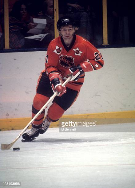 Stan Mikita of the Chicago Blackhawks and Team West skates with the puck during the 26th NHL AllStar Game against Team East on January 30 1973 at the...