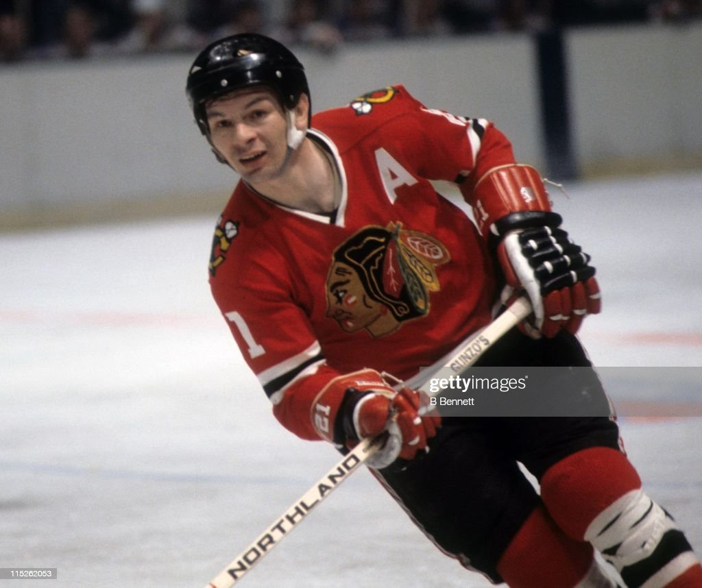 Stan Mikita #21 of the Chicago Blackhawks skates on the ice during an NHL game circa 1975.