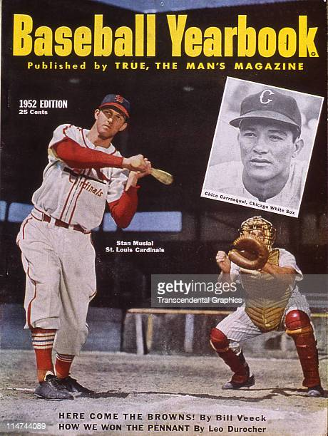 Stan Musial graces the cover of Baseball Yearbook 1952