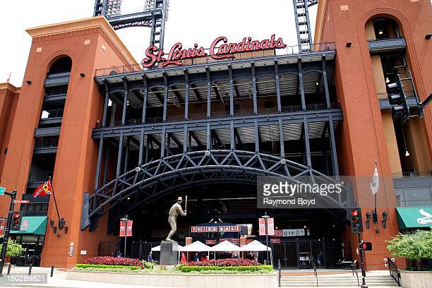 Stan Musial hall of fame statue outside Gate 3 at Busch Stadium home of the St Louis Cardinals in St Louis Missouri on AUGUST 04 2012