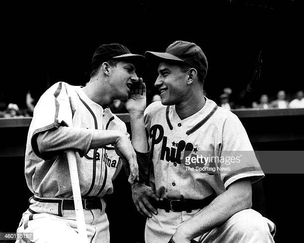 Stan Musial of the St Louis Cardinals and Del Ennis of the Philadelphia Philles talk on the field circa 1950