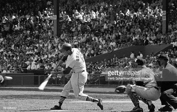 Stan Musial of the St Louis Cardinals batting against the Milwaukee Braves in September 1963 in St Louis Missouri