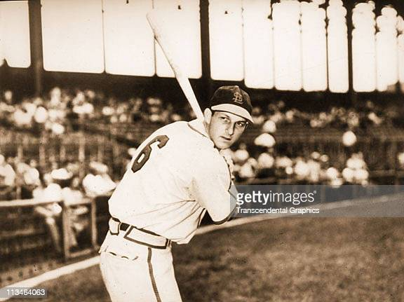 Stan Musial poses for a batting portrait before a game at Al Lang Field where the St Louis Cardinals conduct spring training in March1949 in St...