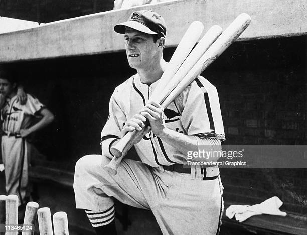 Stan Musial poses for a portrait on the dugout steps in Sportsmans Park circa 1947 in St Louis MIssouri