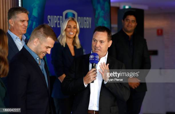 Stan Rugby commentator and former All Black Andrew Mehrtens speks during the 2021 Super Rugby AU Launch at Taronga Zoo on February 03, 2021 in...