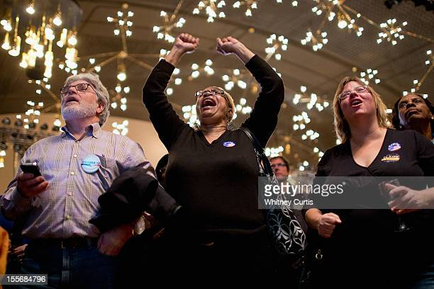 Stan Shanker Denise Pearson and Michelle Zielinski react to early presidential election returns during an election night watch party for Sen Claire...