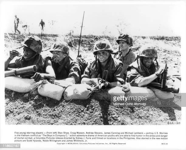 Stan Shaw Craig Wasson Andrew Stevens James Canning and Michael Lembeck portray US Marines in the Vietnam conflict in a scene from the film 'The Boys...